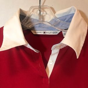 Tommy Hilfiger Long Sleeve Collared Pullover L Red